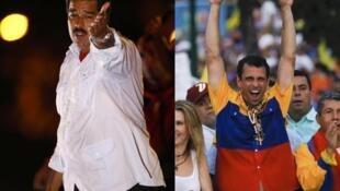 Nicolas Maduro (à esq), e Henrique Caprilles disputam as eleições deste domingo na Venezuela.