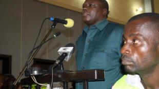 L'ancien officier Marcel Ntsourou à la barre lors de son procès, à Brazzaville, le 2 juillet 2014.