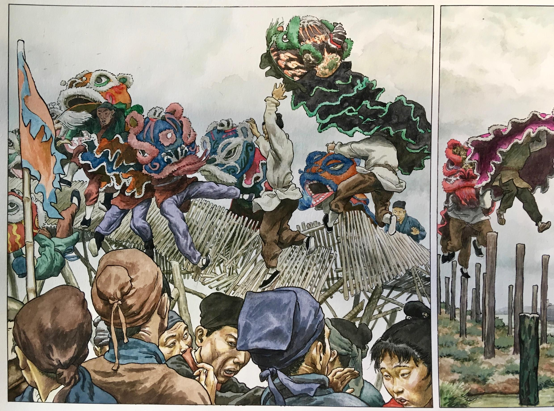 """Chi tiết bản vẽ """"Múa lân"""", NXB Dargaud, 1997, được họa sĩ Vink tặng thành phố Liège."""