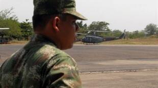 Un soldat colombien sur la base militaire colombienne de Palanquero, à Puerto Salgar, le 12 juillet 2009.