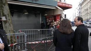 法國總統奧朗德、巴黎市長伊達爾戈於11月13日在被遇襲的餐廳/酒吧La Belle Equipe之前