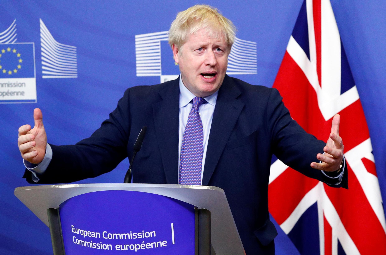 Le Premier ministre britannique Boris Johnson, en conférence de presse à Bruxelles, le 17 octobre 2019.