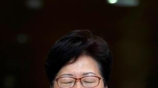 香港特首林郑月娥参加记者会资料图片