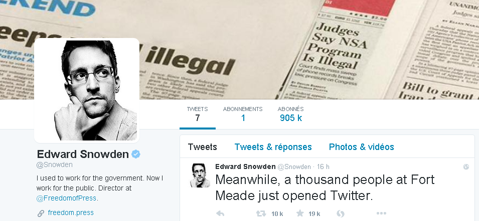 Edward Snowden's profile on his Twitter account.