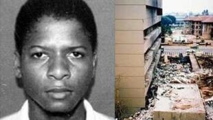 Ахмед Гайлани. Справа - здание посольства США а Найроби (Кения) после взрыва