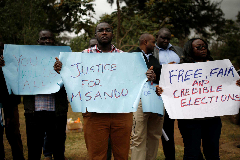 Des Kényans demandent des élections équitables et crédibles lors d'un rassemblement, le 1er août 2017 à Nairobi, après l'assassinat de Chris Msando, responsable informatique de la Commission électorale.