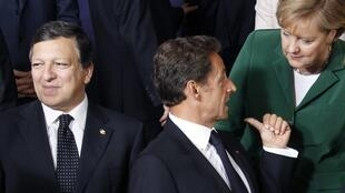 French President Nicolas Sarkozy, German Chancellor Angela Merkel and European Commission President Jose Manuel Barroso