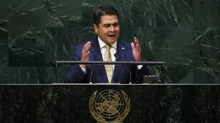 Juan Orlando Hernández en la ONU, el pasado 24 de septiembre.