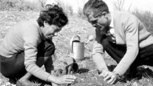جلال آلاحمد در کنار همسرش، سیمین دانشور