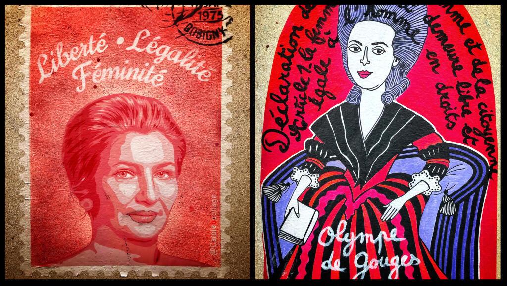 PARIS FEMINISTE - collages Simone Veil et Olympe de Gouges