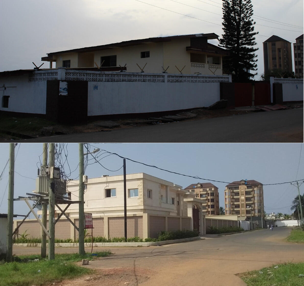 Weah's property in Sinkor neighbourhood before (top) and after redevelopment in 2018.