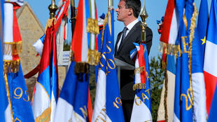 Le Premier ministre Manuel Valls a célébré l'amitié franco-allemande retrouvée lors de la commémoration du centenaire de la bataille de la Marne à Mondement-Montgivroux, le 12 septembre 2014.