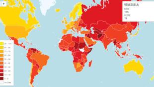 El resto de la región latinoamericana, desde Centroamérica hasta Argentina, se encuentra atrapada en la mitad más baja del índice.