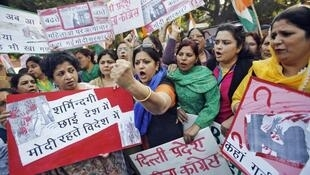 Women protesting rape culture in India where victim shaming is rife