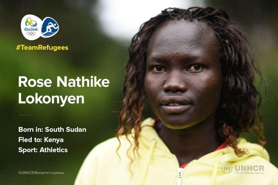 Rose Nathike Lokonyen é a porta-bandeira dos refugiados.