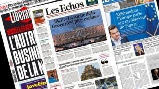 Capa dos jornais franceses Les Echos, Libération e Le Figaro desta terça-feira, 30 de junho de 2015.