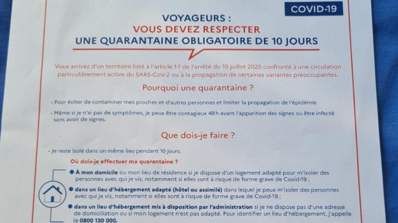 Explicação sobre a quarentena à qual os passageiros que chegam do Brasil são submetidos