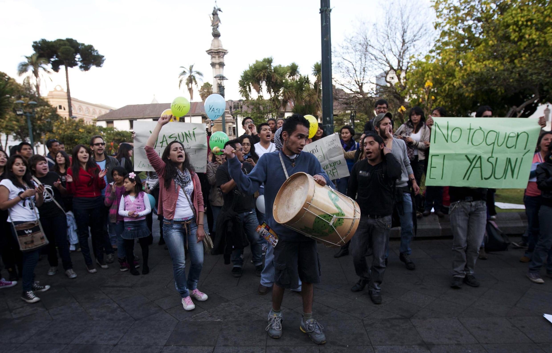 Manifestation de soutien au projet Yasuni ITT de protection de la réserve écologique en Amazonie, à Quito, le 15 août 2013.