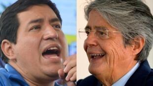 """Los candidatos presidenciales Andrés Arauz (izq), del pratido """"Unión por la Esperanza"""", y Guillermo Lasso, del movimiento """"Creando Oportunidades"""", que se enfrentarán en segunda vuelta en Ecuador"""