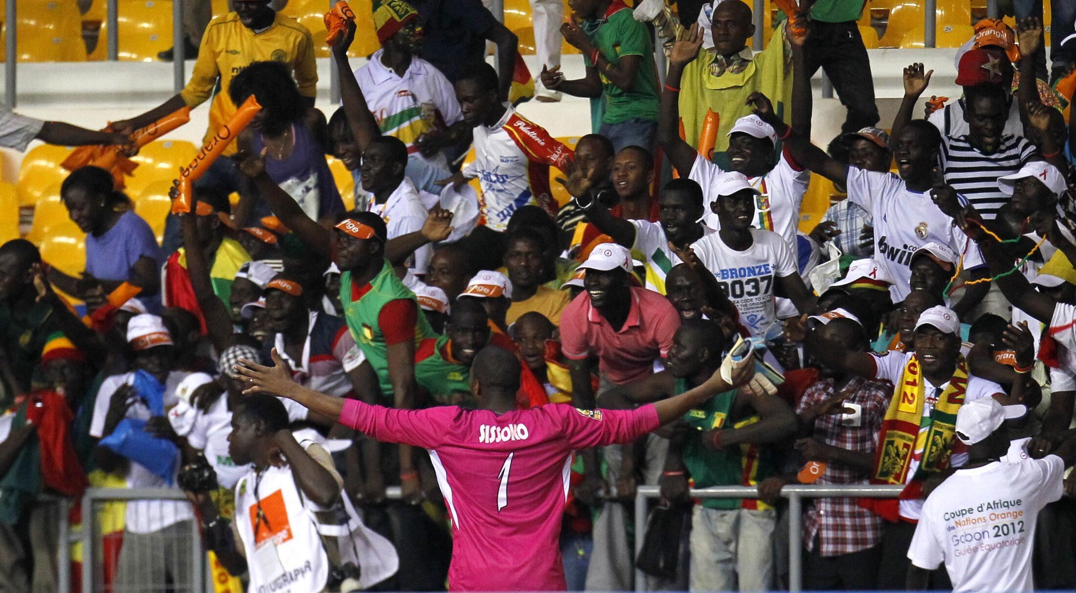 Des supporters maliens lors de Mali-Botswana à Libreville.