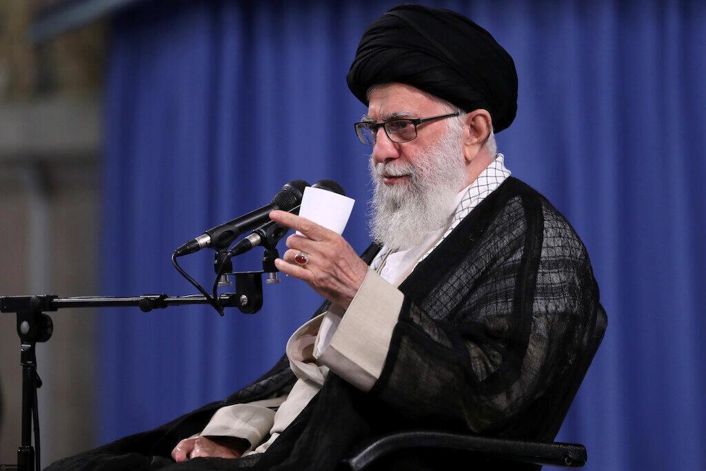 Iran's Supreme Leader Ayatollah Ali Khamenei speaks during ceremony attended by Iranian clerics in Tehran, Iran, 16 July 2019.