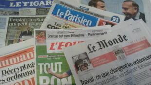Primeiras páginas dos jornais franceses de 01 de setembro de 2017