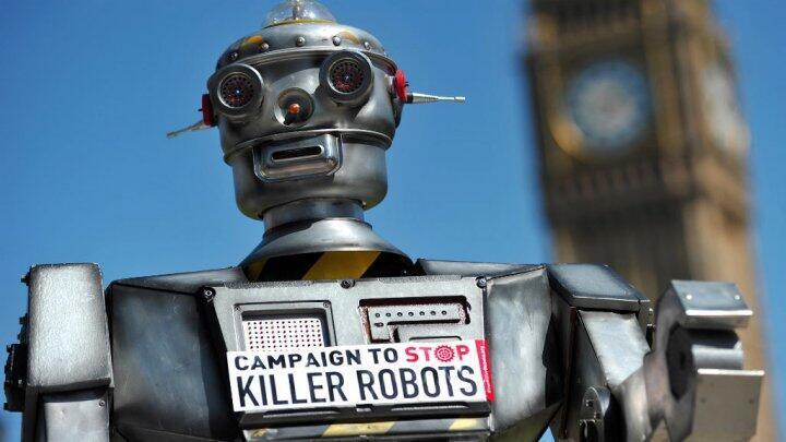 """A ong britânica Stop Killer Robots faz campanhas contra o desenvovimento de armas autônomas, que chama de """"robôs assassinos""""."""