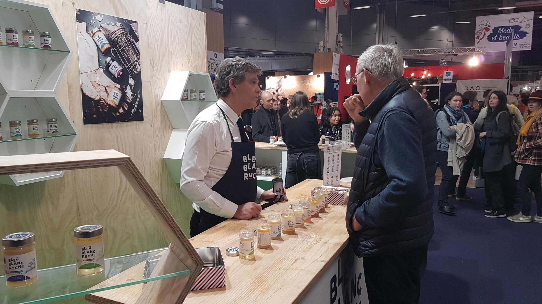"Ex-Economy Minister Arnaud Montebourg now turned entrepreneur, represents his label Bleu Blanc Ruche (Blue, White, Honey) at the ""Made in France"" fair, Paris, 8 November 2019"