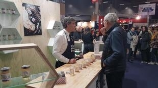 "Ex-Economy Minister Arnaud Montebourg now turned entrepreneur, represents his label Bleu Blanc Ruche (Blue, White, Honey) at the ""Made in France"" fair, Paris, 8 November 2019"