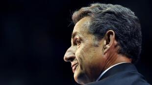 L'ancien président français Nicolas Sarkozy, en meeting à Marseille le 28 octobre 2014.