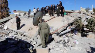 图为伊拉克边境地震受灾景象