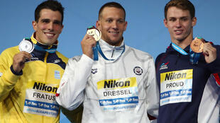 Bruno Fratus, Caeleb Remel Dressel and Benjamin Proud.
