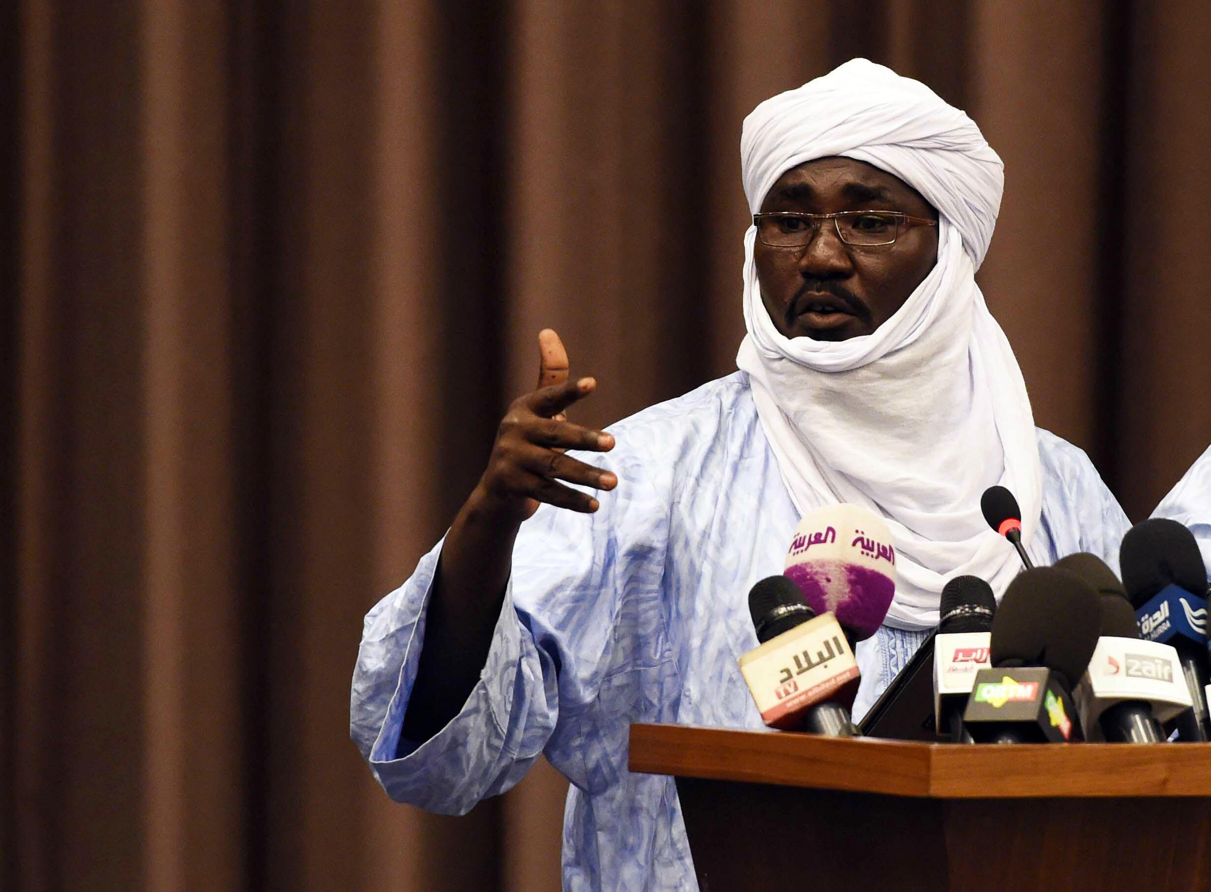 Mahamadou Djeri Maiga, vice-président du MNLA, s'exprime à Alger, le 16 juillet 2014, dans le cadre des négociations de paix au Mali.