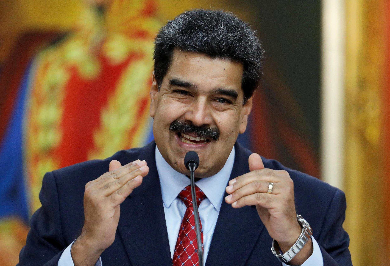 Le chef de l'Etat vénézuélien Nicolas Maduro, lors d'une conférence de presse à Caracas, le 25 janvier 2019.