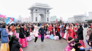 Người dân Bắc Triều Tiên mừng Năm Mới âm lịch ở Bình Nhưỡng, ngày 06/02/2019.