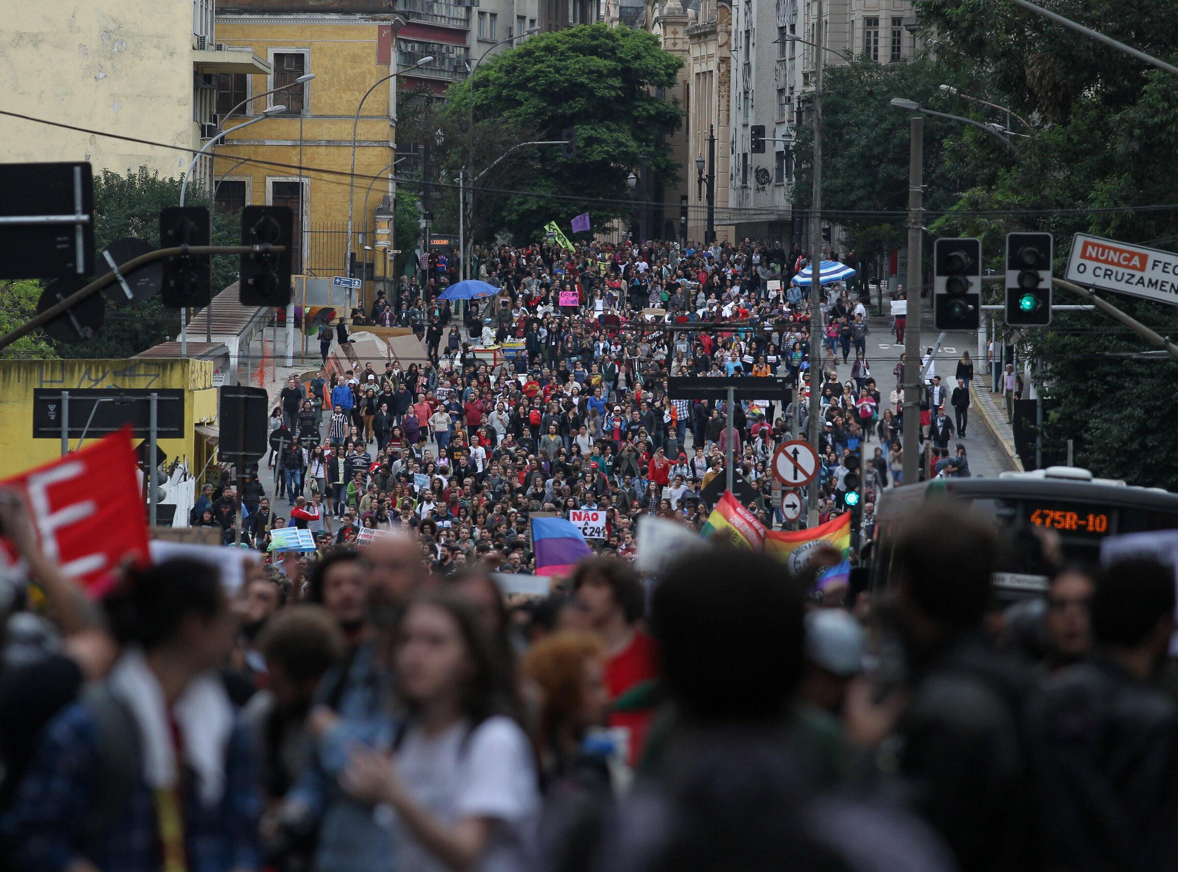 Manifestation contre le président Michel Temer, le 7 septembre 2016 à Sao Paulo.