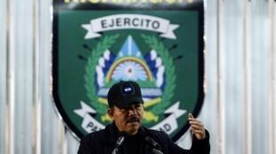 Nicaragua's President Daniel Ortega speaking at the end of a landmine cleanup campaign on Xiloa base near Managua