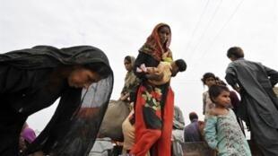 Flood victims in Pakistan's Sukkur district