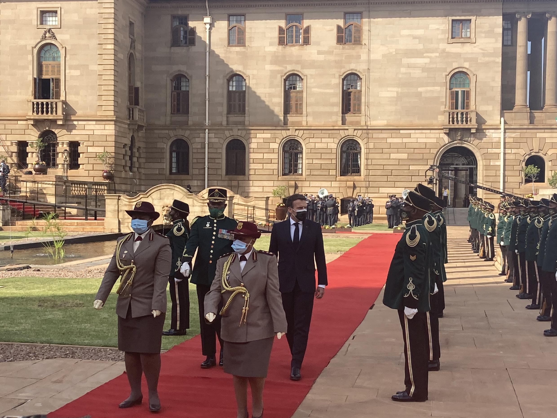 Le président français Emmanuel Macron au palais présidentiel de Pretoria, en Afrique du Sud, le 28 mai 2021.