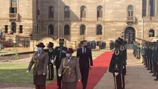 IMAGE Le président français Emmanuel Macron au palais présidentiel de Pretoria, en Afrique du Sud, le 28 mai 2021.