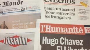 Primeiras páginas diários franceses 7/3/2013