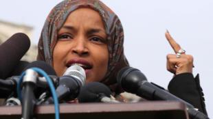 Ilhan Omar, lors d'une conférence de presse donnée devant le Capitol, le 7 février 2019 (photo d'archive).