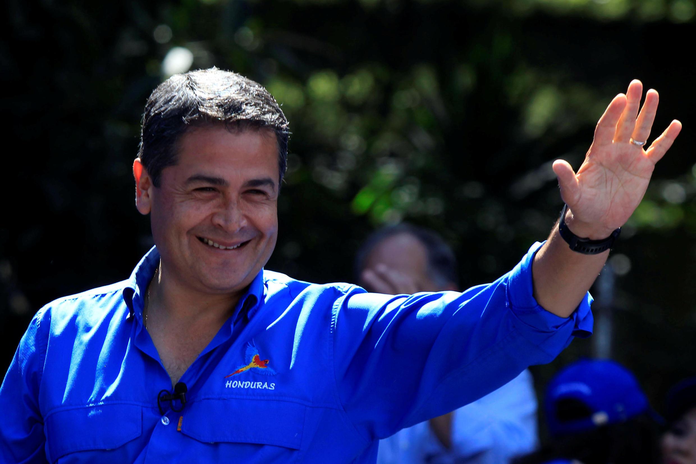 Juan Orlando Hernandez, le président sortant, en pleine campagne à Tegucigalpa, le 19 novembre 2017.