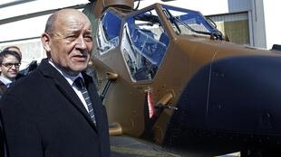 French Defence Minister Jean-Yves Le Drian at the Eurocopter factory in Marignane, south-east France