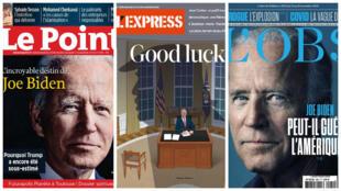 O novo presidente americano Joe Biden é manchete das revistas Le Point, L'Express e L'OBS desta semana.