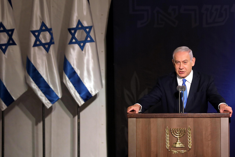 سخنرانی بنیامین نتانیاهو، نخست وزیر اسرائیل، در وزارت دفاع این کشور در تلاویو. سهشنبه ٢۵ دی/ ۱۵ ژانویه ٢٠۱٩