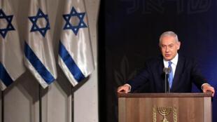O Primeiro-ministro Benyamin Netanyahu em  Tel Aviv. 15 de Janeiro  de 2019