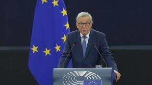 O presidente da Comissão Europeia, Jean-Claude Juncker, durante discurso nesta quarta-feira (14) no Parlamento Europeu.