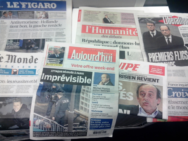 Capas dos jornais diários franceses de 08/01/16