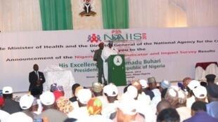 Shugaban Najeriya Muhammadu Buhari yayin jawabinsa game da HIV AIDs